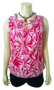 Banana Republic Size X-small Sleeveless P1436 Top Pink, white