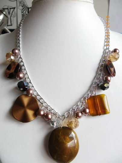 handmade brown beads gemstone glass necklace