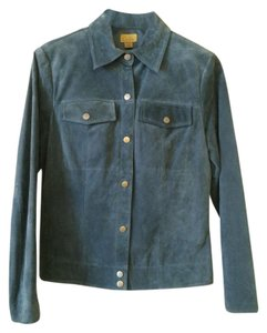 Caslon Leather Suede Steel Blue Leather Jacket