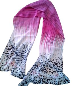 Silk Scarf Pink Black White 60 Inch Long P1439