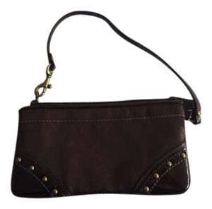 Coach Chocolate Going Out Clutch Wallet Patent Leather Wristlet in Monogram Brown