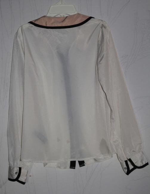 Forever 21 Peter Pan Collar Top Black/Ivory/Peach