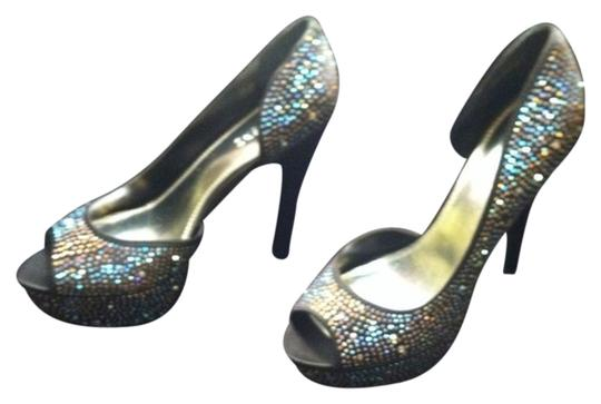 Bakers Sparkle Black with Iridescent Rhinestones Pumps