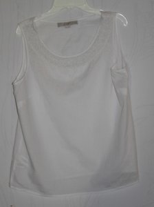 Ann Taylor LOFT Top White Beaded