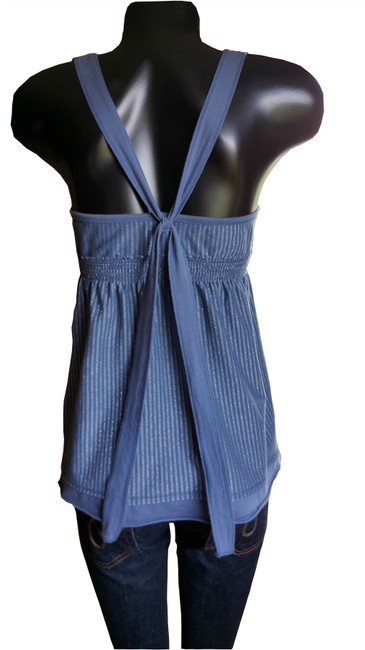 Hollister California Baby Doll With Smocked Empire Bust Criss Cross Bow Tie Back Top Blue and Metallic Silver