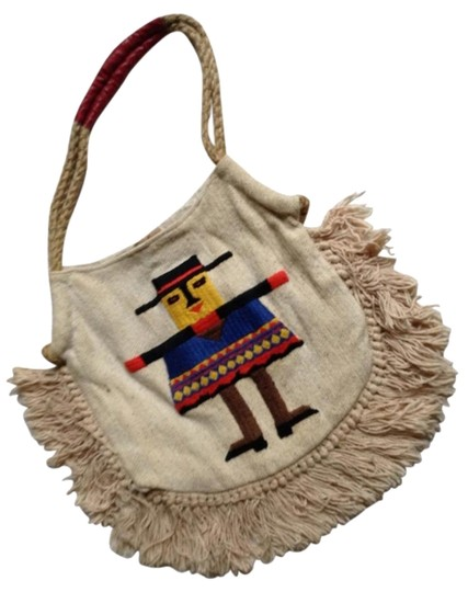Peruvian Connection Embroidered On White Beach Bag