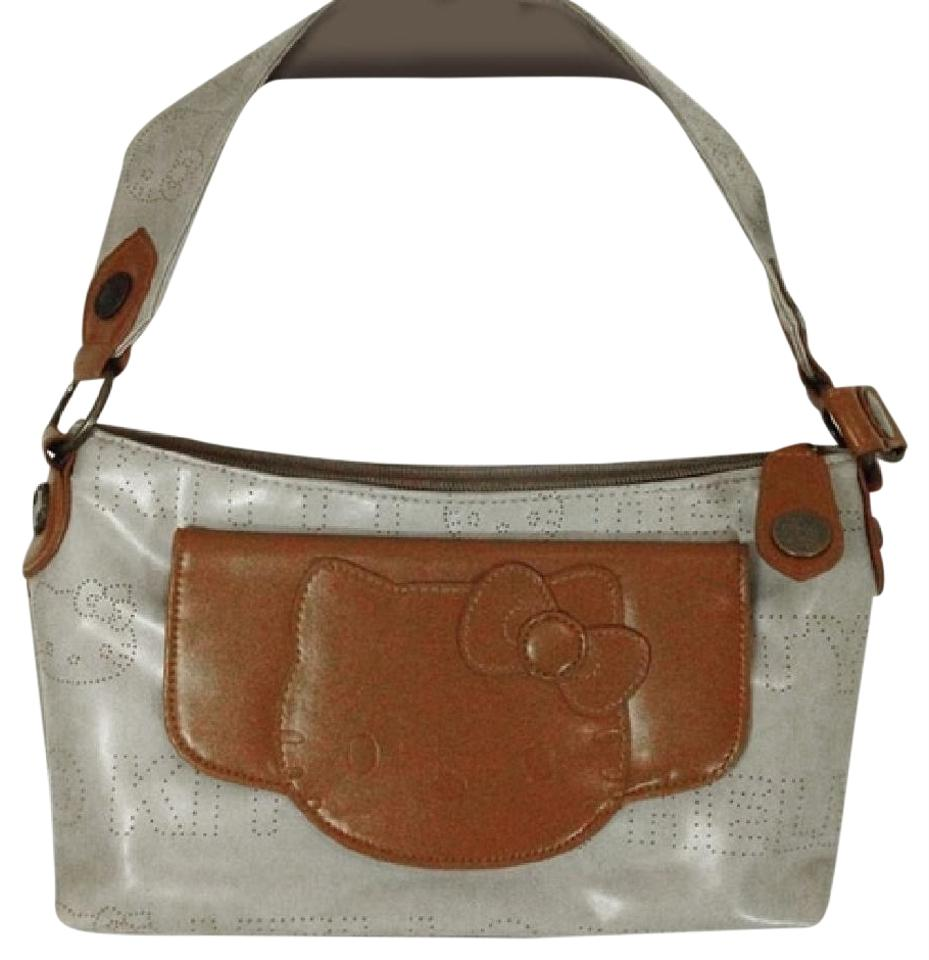 ed6133206 Hello Kitty Logo Purse Beige and Tan Leather Canvass Shoulder Bag ...