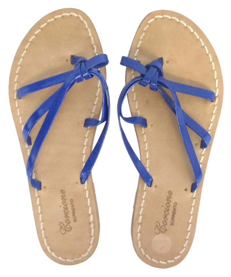 38c9930f5fdc Blue Patent Leather Strappy Flat Sandals Size US 6 - Tradesy