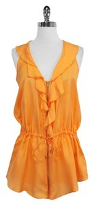 Cynthia Steffe Silk Sleeveless Ruffly Top