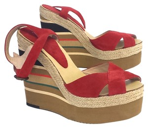 Andre Assous Suede Striped Platform Wedges