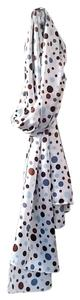 Jenny Anne Large Scarf - Silky Charmeuse with Blue and Brown Polka dots