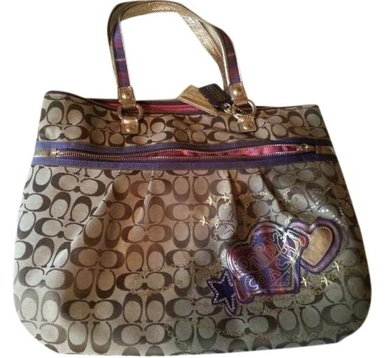 Coach Patchwork Applique Plaid Classic Preppy Poppy Glam Brown Fun Tote in Brown/Purple