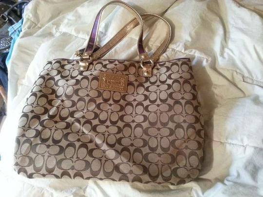 Coach Patchwork Applique Plaid Classic Preppy Tote in Brown/Purple
