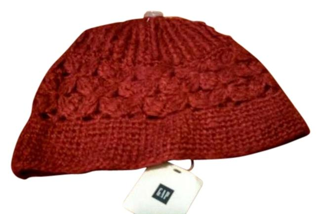 Item - Red Hand Knit Women's Winter Hat with Floral Pattern From The Scarf/Wrap
