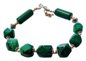 Malachite Gemstone Bracelet 925 Silver Green J1006