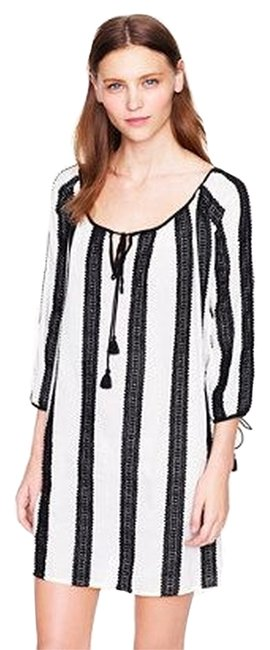 Item - Black and White Lace-stripe Tunic Cover-up/Sarong Size 8 (M)