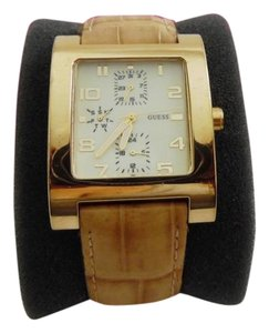 Guess GUESS Goldtone 3-Subdial Leather Watch 9 Inch