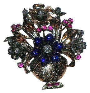 Antique Vintage 18kt Gold Enamel Mine Cut Diamond Ruby Flower Brooch Pin