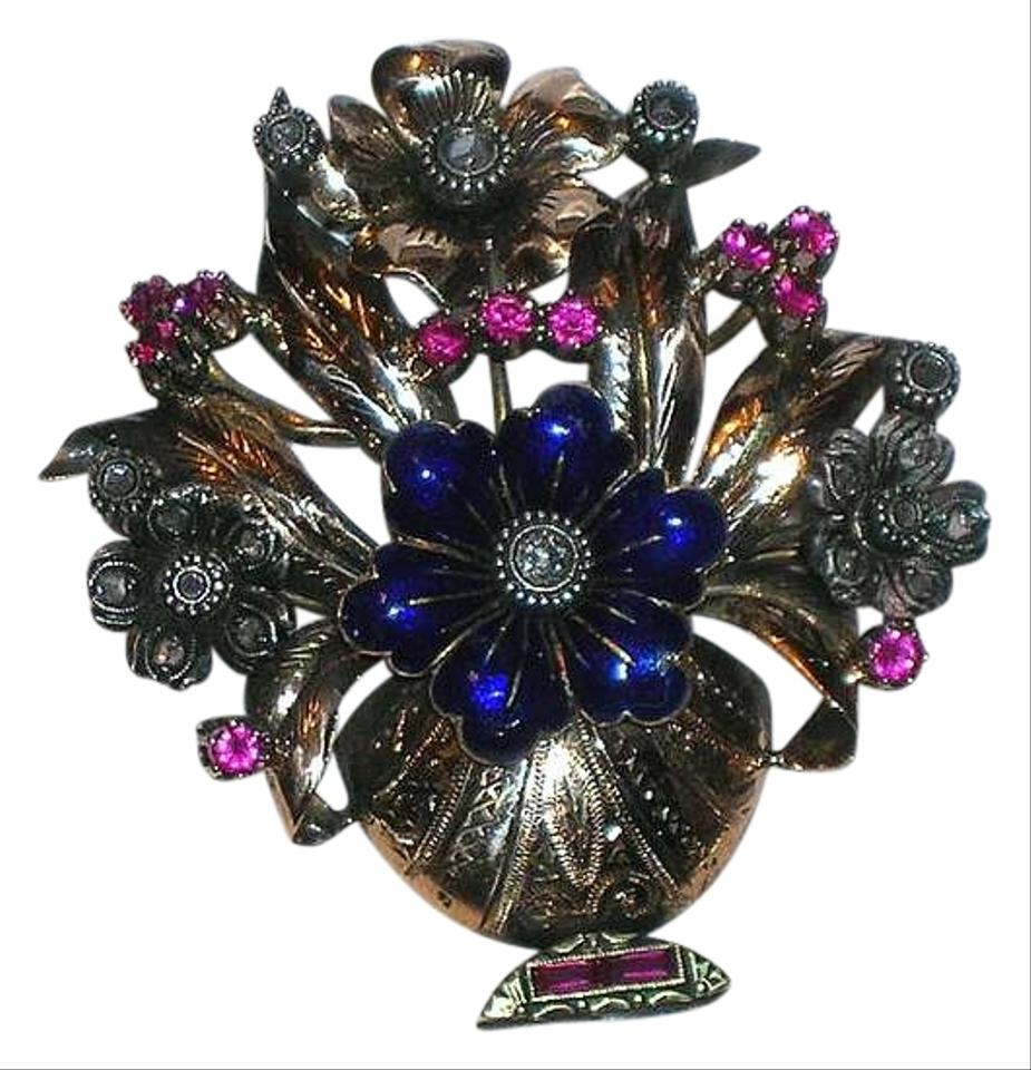 en purple style basket crystal pin flower swarovski fantasyard violet antique brooch
