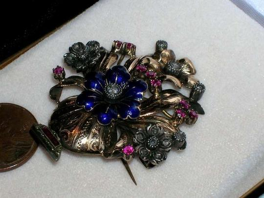 Other Antique 18k Enamel Mine Cut Diamond Ruby Flower Brooch Pin