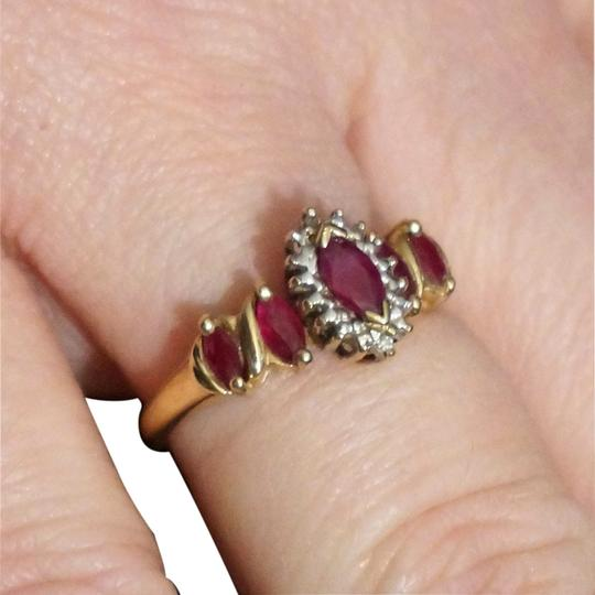 CRP Vintage 10k 10kt Yellow Gold Diamond Marquise Navette Ruby 5 Stone Cocktail Ring