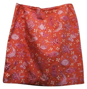 Lilly Pulitzer Mini Skirt Orange with Lilly Pink on Pink, and white accents