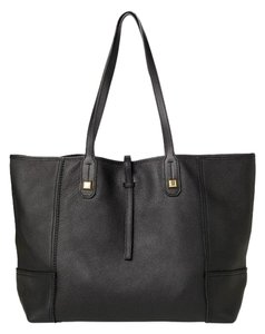 Stella & Dot & Leather Genuine Leather Handbag Gold Tote in Black