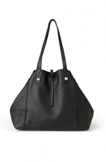 Stella & Dot Leather Genuine Leather Handbag Gold Tote in Black