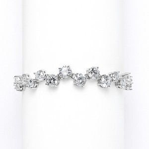 Mariell Cubic Zirconia Tennis Wedding Bracelet With Zig Zag Pattern 3595b