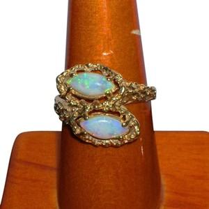 Vintage Estate 14K Double Opal Bypass Ring