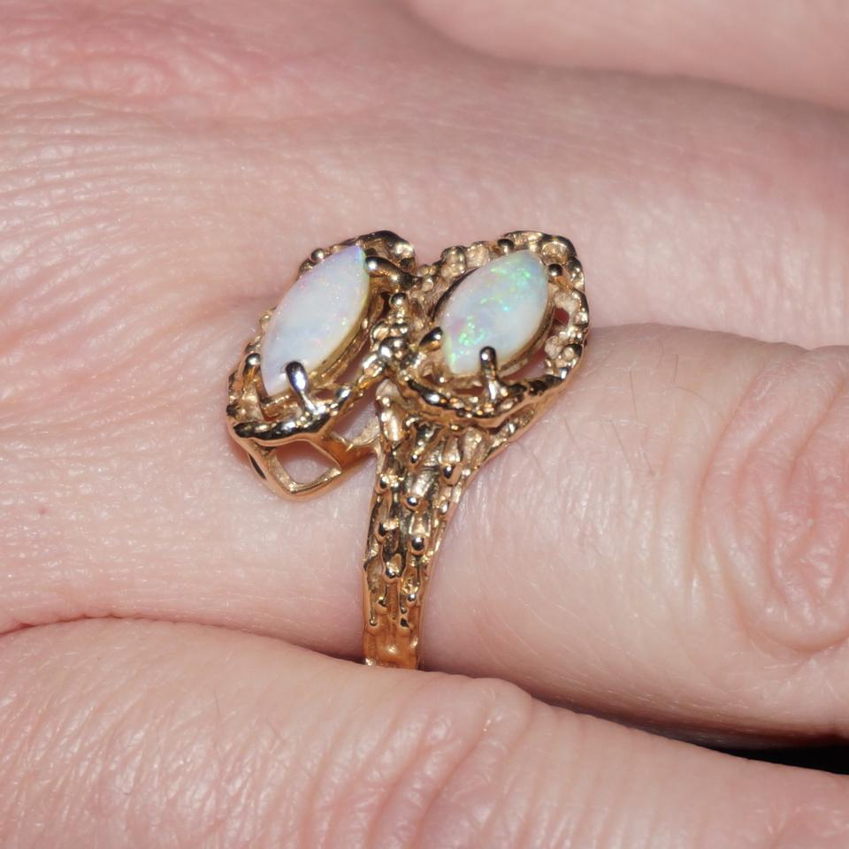 Yellow Gold Vintage Estate 14k Double Opal Bypass Ring - Tradesy