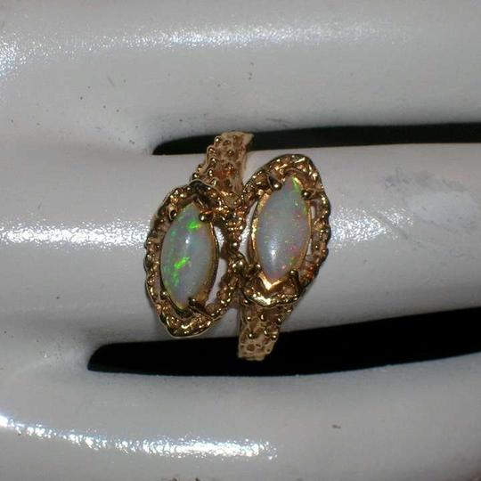 Other Vintage Estate 14K Double Opal Bypass Ring