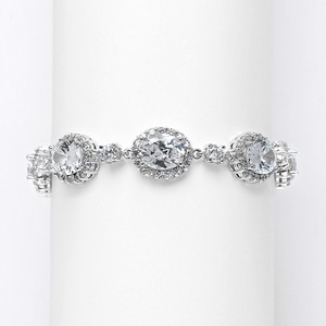 Mariell Silver Spectacular Cubic Zirconia Ovals 3610b Bracelet