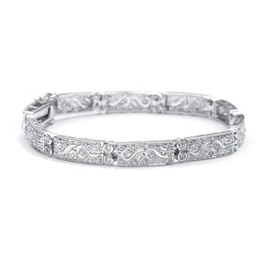 Mariell Silver Finely Etched Faux Diamond and Platinum Cubic Zirconia 363b Bracelet