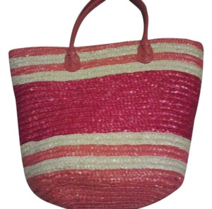 straw Tote in pink/orange