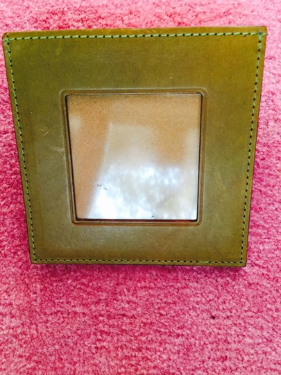 Green Frame with Brown Wood Italian Leather Desk Picture Holder On Shapely Stand Photo