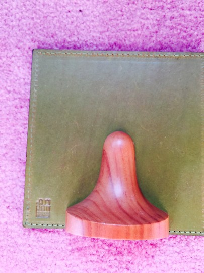 Green with Brown Wood Italian Leather Desk Picture Holder On Shapely Stand Photo Frame