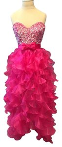 Sherri Hill Formal Prom Pageants Pink Sequin Bow High Low Pearls Bling Dress