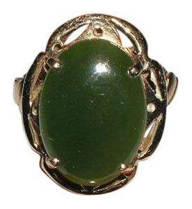 Other Antique Vintage ESTATE 14K 14kt Gold Chinese Jade Jadeite Ladies Ring