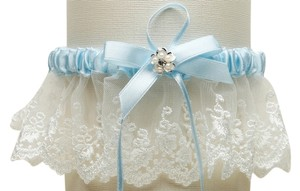Mariell Embroidered Ivory Lace Scalloped Something Blue Bridal Garter 3766G-I-BL