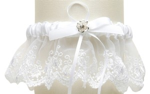 Mariell Embroidered White Lace Scalloped Garter with Brushed Silver Flower 3766G-W