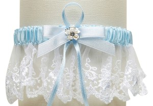 Mariell Embroidered White Lace Scalloped Something Blue Bridal Garter 3766G-W-BL