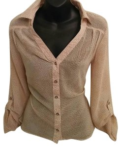 Sheer Semi Sheer Khaki Top Cream