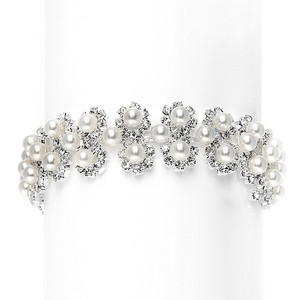 Mariell White Pearl & Silver Rhinestone Bridal Bracelet With Daisies 3805b-w-s