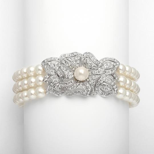 Preload https://item2.tradesy.com/images/mariell-ivorysilver-3-row-pearl-cubic-zirconia-vintage-3826b-bracelet-3971836-0-0.jpg?width=440&height=440