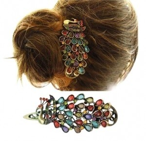 All Around Fem Colorful Rhinestone Peacock Hair Clip