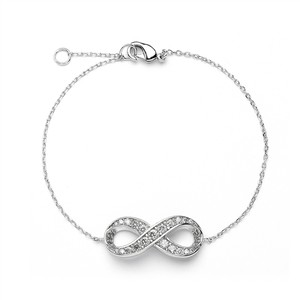 Mariell Delicate Rhodium Chain Wedding Bracelet With Cubic Zirconia Infinity Symbol 4011b