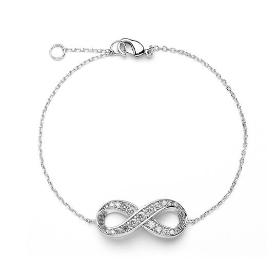 Mariell Silver Delicate Rhodium Chain with Cubic Zirconia Infinity Symbol 4011b Bracelet
