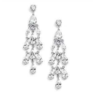 Mariell Cubic Zirconia Silver Chandelier Wedding Earrings 4020e-s