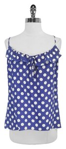 Parker Polka Dot Silk Top Cobalt Blue